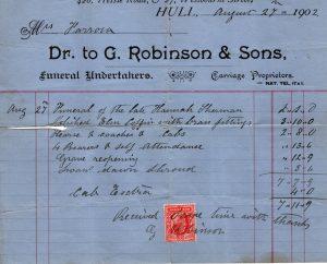 1902 Funeral receipt