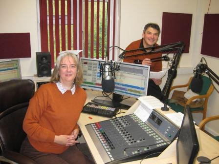 Anne at Beverley FM with Les Smith