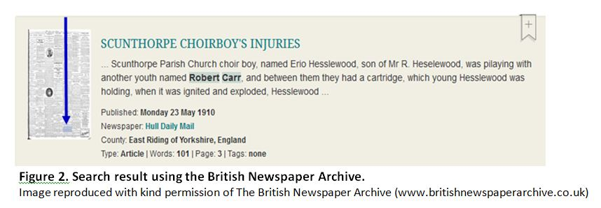 British Newspaper Archive search result