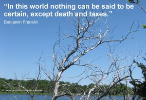 """In this world nothing can be said to be certain, except death and taxes"" quote by Benjamin Franklin"