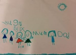 home schooling indicated by a young child's drawing of her family