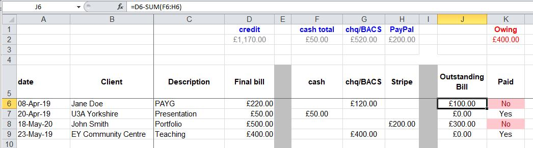 income page showing formula