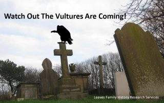 "Vulture on gravestone. Quote ""watch out the vultures are coming"""